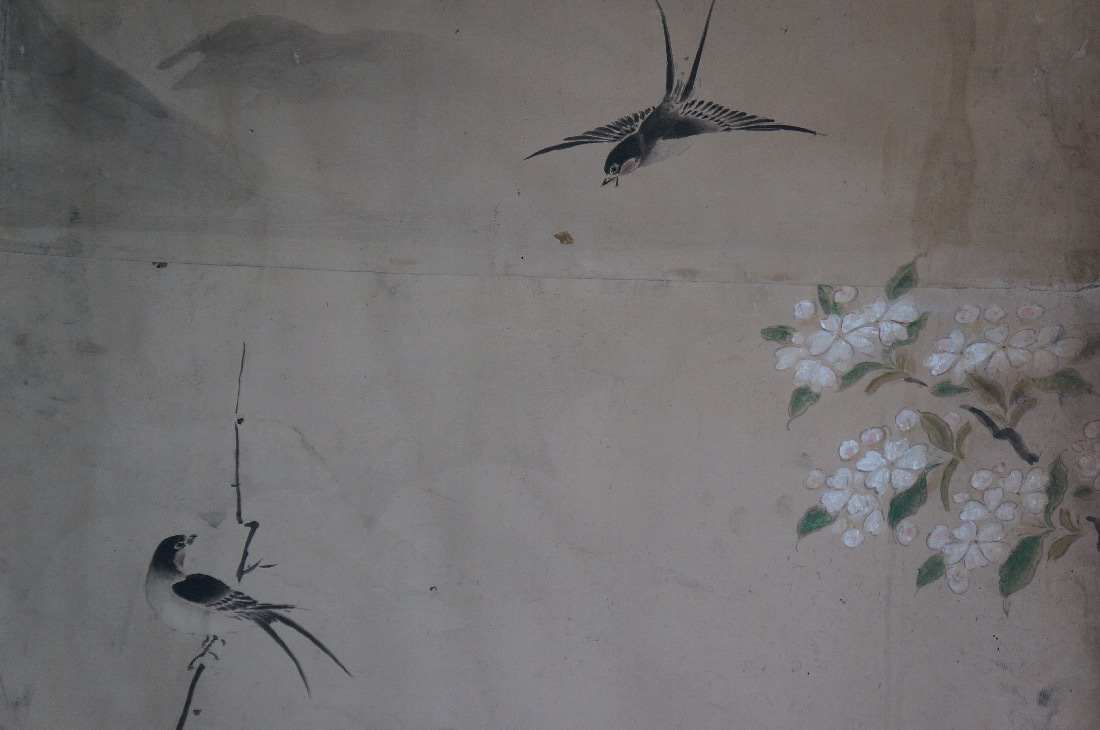 Antique japanese birds painting washi paper edo period for Japanese watercolor paintings