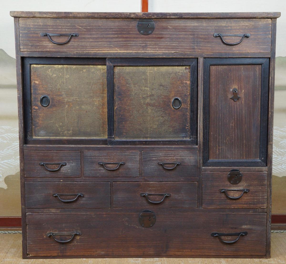 Materials: wood, bronze - Antique Chadansu Japanese Furniture 1900s Japan Cabinet Tansu Craft