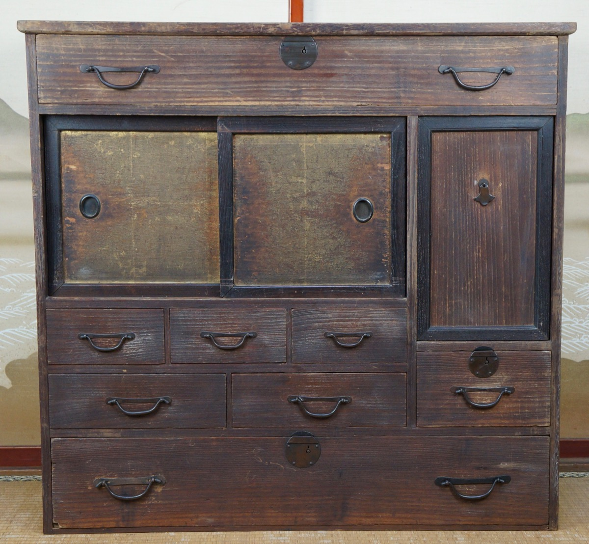 Materials: wood, bronze - Antique Chadansu Japanese Furniture 1900s Japan Cabinet Tansu Craft