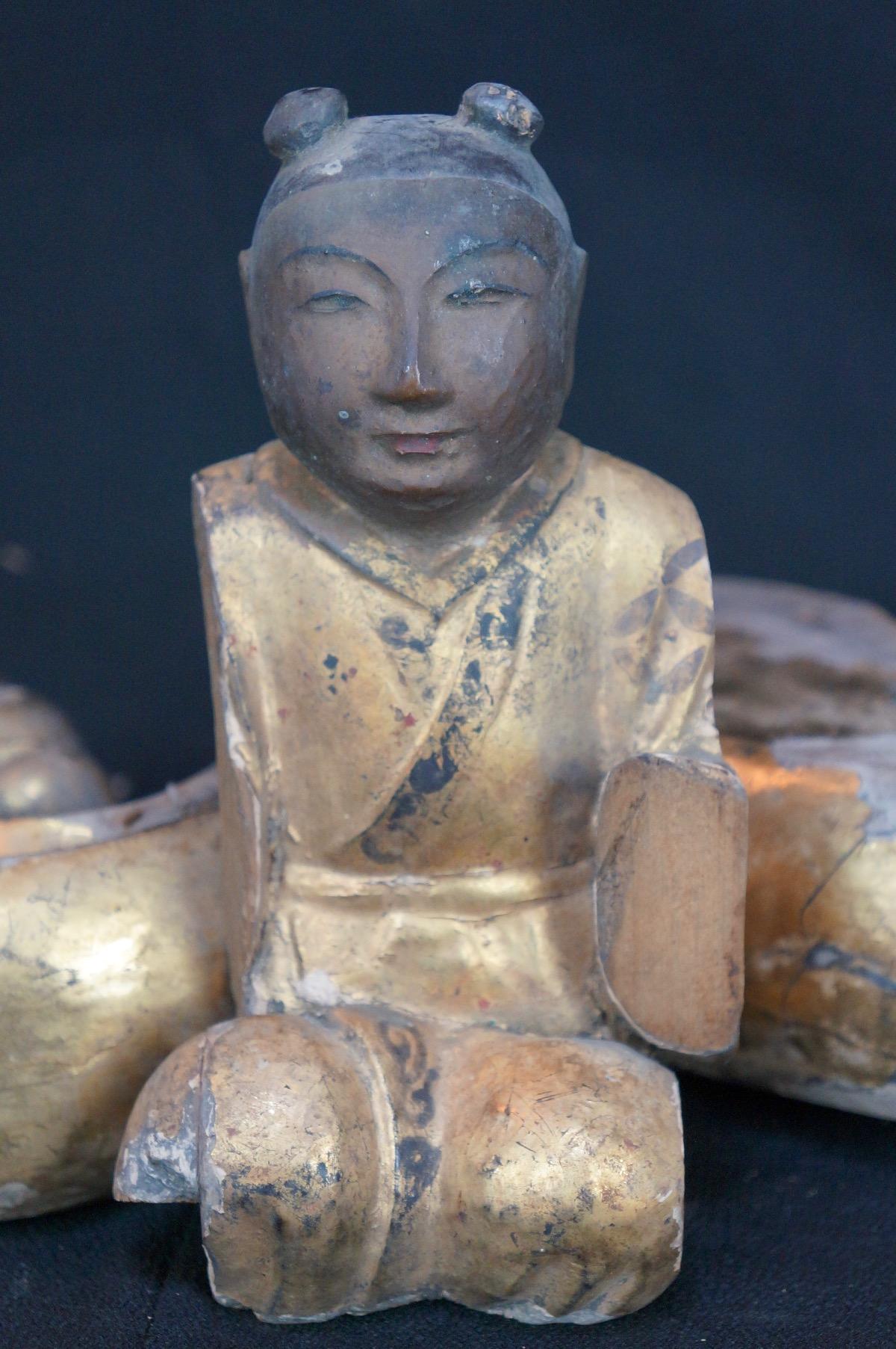 Antique japanese wood carving shrine sculpture