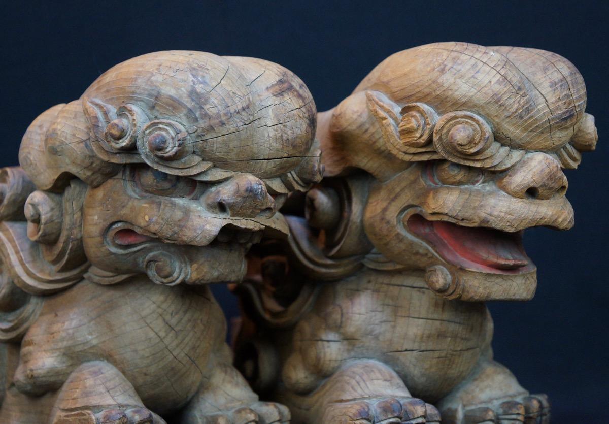 Antique japanese wood shinto shrine sculpture