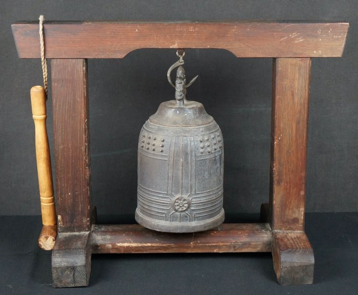 Buddhist bronze Bell and stand 1890