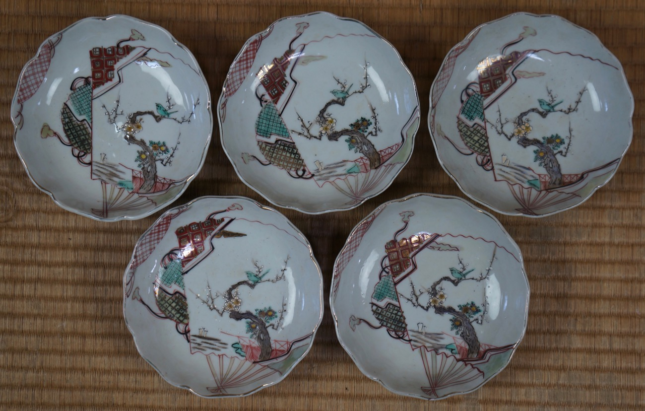 Antique japanese ceramic plates japan art craft 1900s for Craft ideas for old dishes