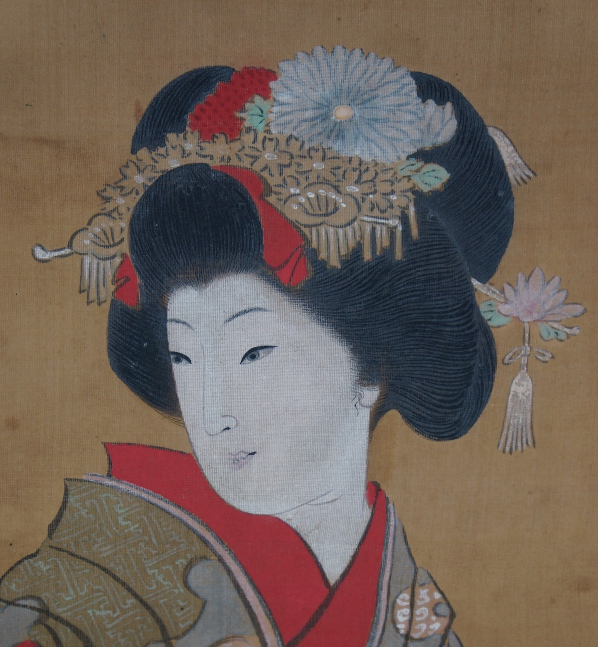 Antique Japanese Scroll: Antique Geisha Hand Painting Japanese Scroll 1900 Paper