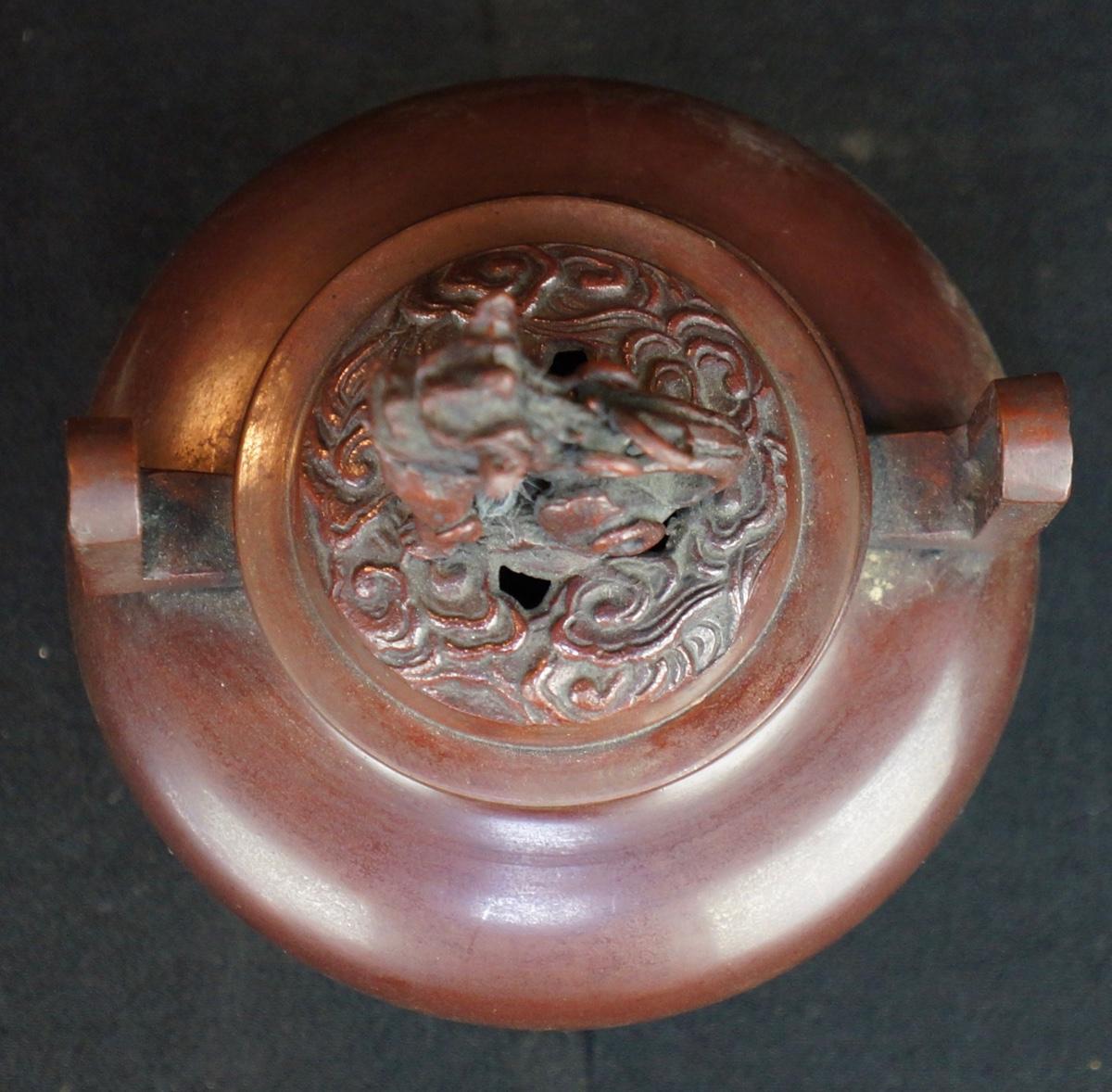 Japanese Bronze Incense Burner Koro Sakura And Matsu 1900