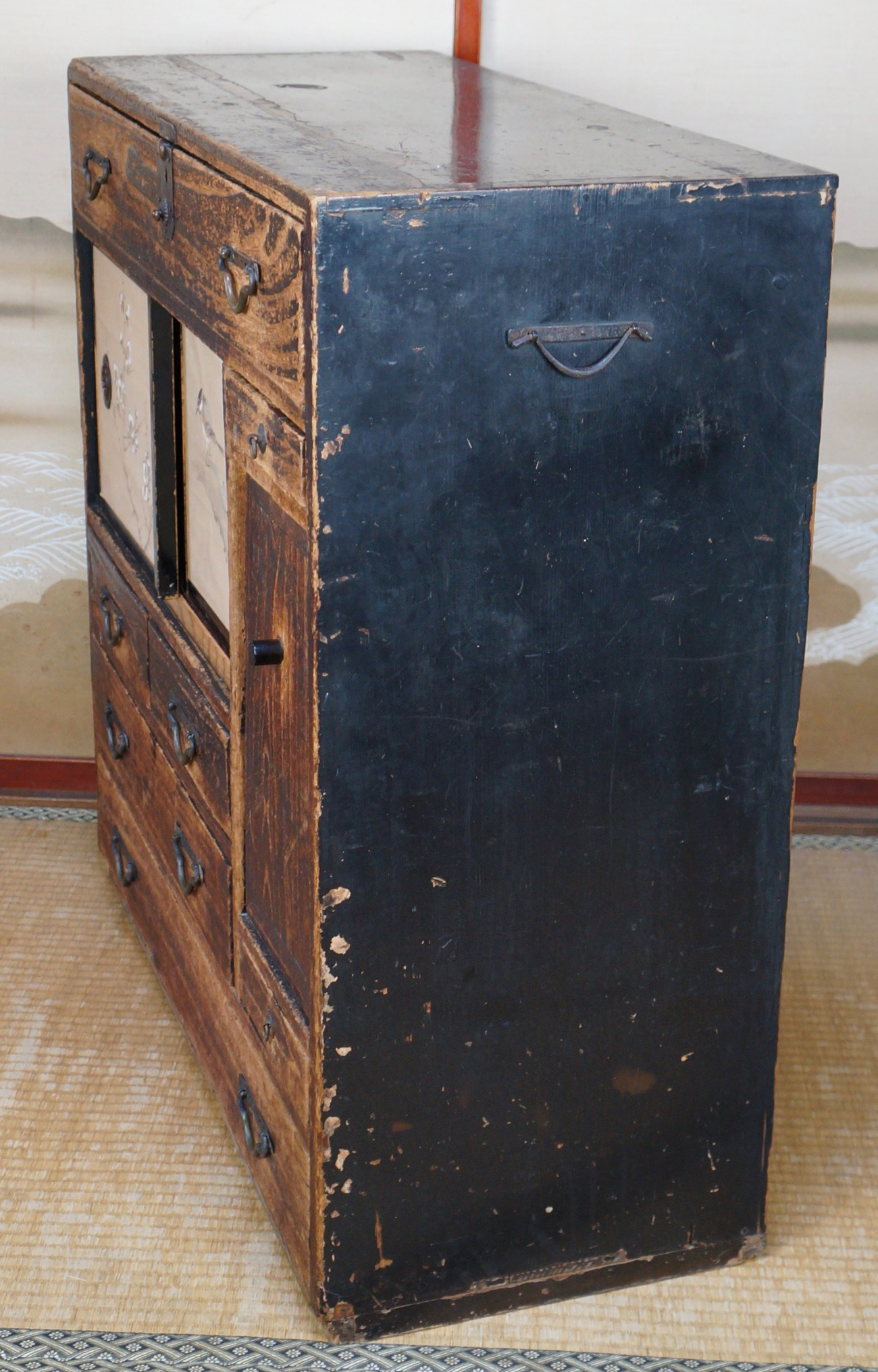 Materials: wood, bronze - Antique Tansu Japanese House Furniture Dated 1871 Japan Wood