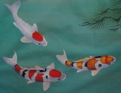 Koi silk painting 1970s