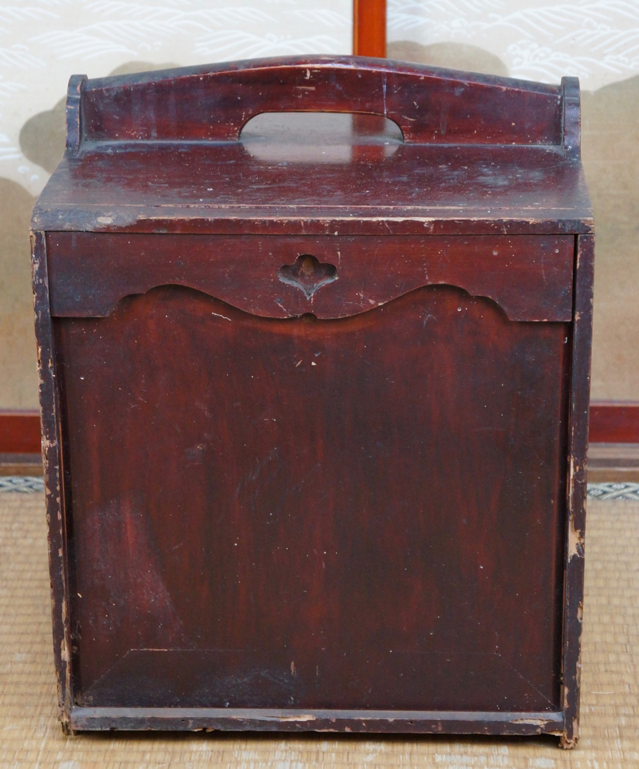 Materials: wood - Japanese Delivery Box 1900s Japan Wood Craft Furniture Antique